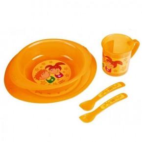 Набор детской посуды (чашка, ложка, вилка, тарелка)