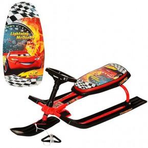 Снегокат Мультяшки, детский с рулем, санки, снежный скутер