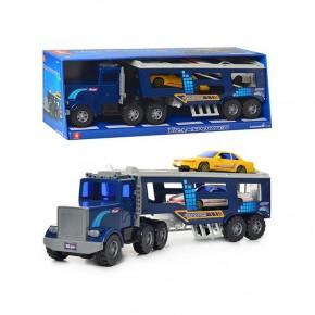 Трейлер DS 806 инерц., подвижные детали, машинки 2 шт, в коробке, 54,5-18,5-14см