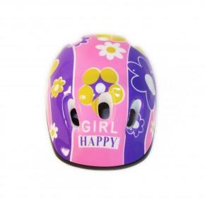 Детский защитный шлем Девочкам С1 для велосипедов, роликов, скейтов, самокатов цветочки