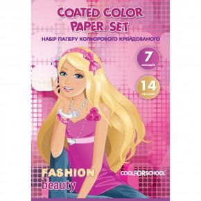 Цветная бумага мелованная набор Cool For School A4 14 листов CF21100-09