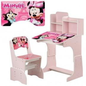 Парта детская со стульчиком Bambi W 2071 для дома Бамби регулируемая минимаус розовая