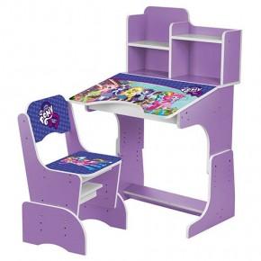 Парта детская со стульчиком Bambi W 2071 для дома Бамби регулируемая пони фиолетовый