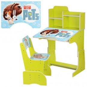 Парта детская со стульчиком Bambi W 2071 для дома Бамби регулируемая собачки