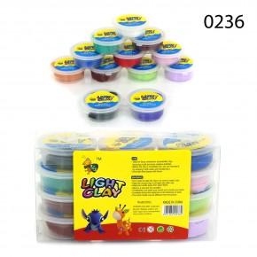 Тесто для лепки Light Clay 0236 12 цветов, пластилин