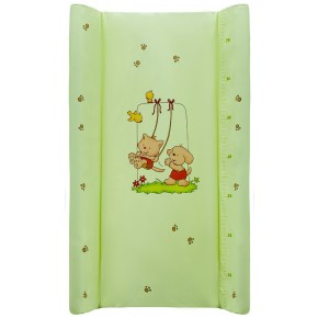 Пеленальный матрас Maltex мягкий 50х80 см  кот с собакой на качеле, салатовый