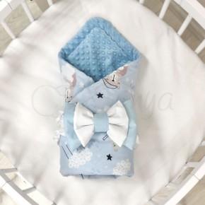 Плед Маленькая Соня Minky Коты в облаках голубые