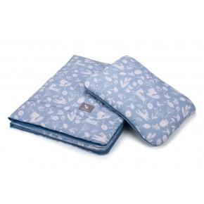 Плед с подушкой Cottonmoose Cotton Velvet 408/128/120 лазурный (лес) с лазурным (бархат)