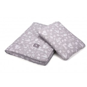 Плед с подушкой Cottonmoose Cotton Velvet 408/130/117 серый (лес) с серым (бархат)