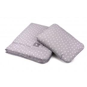 Плед с подушкой Cottonmoose Cotton Velvet 408/133/117 серый (капли) с серым (бархат)