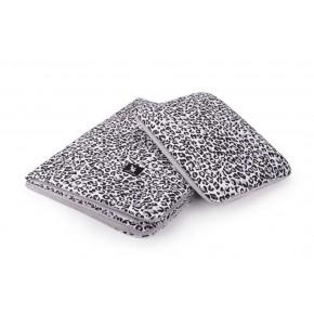 Плед с подушкой Cottonmoose Cotton Velvet 408/153/117 серый леопардовый с кремовым (бархат)