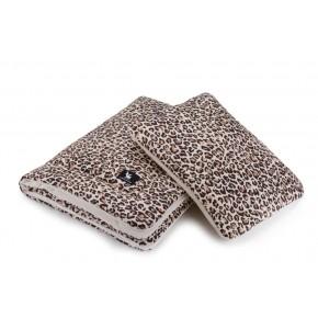 Плед с подушкой Cottonmoose Cotton Velvet 408/79/118 леопардовый с кремовым (бархат)