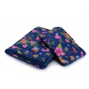 Плед с подушкой Cottonmoose Cotton Velvet 408/81/145 синий (райские птицы) с темно-синим (бархат)