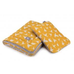 Плед с подушкой Cottonmoose Cotton Velvet 408/85/117 оранжевый (оригами) с серым (бархат)